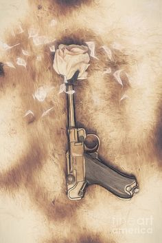 Vintage digital illustration of a pistol capped with a rose bud shooting a petal blast of kindness and hope through the winds of a peacefire treaty. Make love not war by Ryan Jorgensen