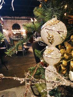 We love GIANT ornaments in our farmhouse Christmas trees!