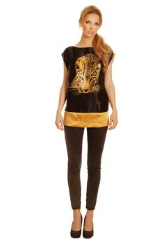 Black-gold blouse with tiger | Glamour Collection | Summer 2014 | Tamaniera  #fashion #animalmotif #withtiger