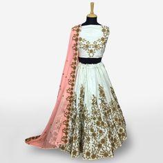 Buy Exceptional Smokey White Colored Partywear Embroidered Banarasi Silk Lehenga Choli at Rs. Get latest Lehengas for womens at Peachmode. Lehenga Collection, Silk Lehenga, India, Blouse, Stuff To Buy, Color, Dresses, Women, Fashion
