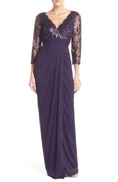 Womens Adrianna Papell Sequin Lace  Ruched Tulle Gown Size 16 - Purple $249.00 AT vintagedancer.com