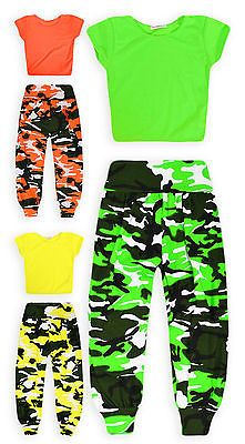 483d0cee64f648 Girls Dance Set New Kids Neon Crop Top Camo Harem Pant Outfit Ages 7-13  Years