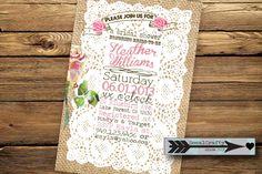 Rustic Lace and Burlap- Bridal Shower Invitation, Digital or Printed