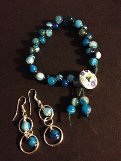 Kim's bracelet and earring set.  The beads are a fab blue in colour and I love the style of both.