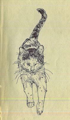 Cat drawing. Nadine MONVOISIN-JOSSELIN via Albah i au onto Ah... Les chats!
