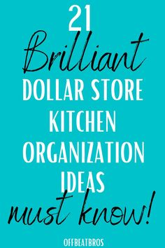 DIY Dollar Store Organizing Hacks To Organize your kitchen. Dollar store is best if you want to organize your kitchen on a budget. These dollar store kitchen organization ideas will help you to do the same. I'm so GLAD I found these amazing dollar store organization ideas for kitchen organization. Definitely Pinning these dollar store hacks!