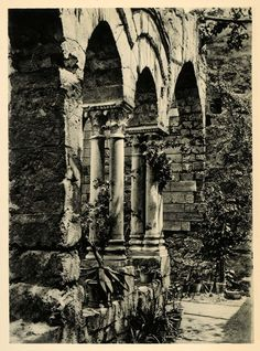 This is an original 1927 photogravure of the ruins of an old church in Palermo on the island of Sicily, Italy. Photograph by Eugen Pšppel. Period Paper is pleased to offer an exceptional collection of