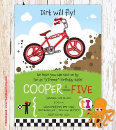 BMX Bike Birthday Party Invitations Boys by TBoneSquid on Etsy Bike Birthday Parties, Birthday Bash, Birthday Party Invitations, Birthday Party Themes, Birthday Ideas, Rodeo Party, Bicycle Party, Childrens Party, Party Planning