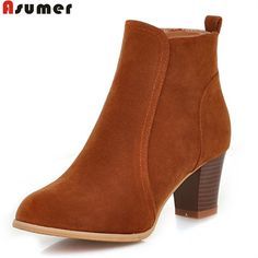 ASUMER 2017 hot sale new arrive women boots fashion flock ladies boots  simple solid color zipper ankle boots big size 35-45 #Affiliate