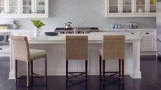 wicker bar stools and tile back splash