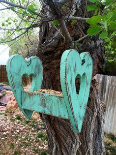 Rustic Reclaimed Wood Heart Shaped Bird Feeder