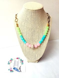 A personal favorite from my Etsy shop https://www.etsy.com/listing/250414388/pastel-beaded-necklace-semi-precious