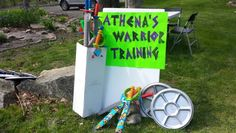 Camp Half Blood Activities - Athena's Warrior Training. Swords from Dollar Store and Toys R Us