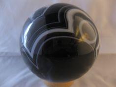 "- * Black and White Striped Agate Crystal Ball (Sphere)  -  3"" across  -  1.5 lb  -  Rio Grande Do Sul, Brazil  -"