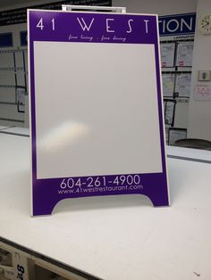 """36""""H x 24""""W Sandwich Board with Dry Erase Laminate produced by FASTSIGNS Vancouver for 41 West Restaurant. www.fastsigns.com/653    #fastsigns Sandwich Boards, Fast Signs, Plastic Signs, Plastic Molds, Fine Dining, Vancouver, Restaurant, Twist Restaurant, Diner Restaurant"""