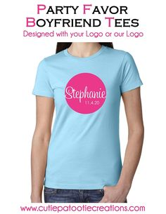 Bar and Bat Mitzvah, Sweet 16 or Quinceanera Boyfriend Tee with YOUR Logo or OUR Logo - Unisex Party Favor T-Shirt for boys and girls.