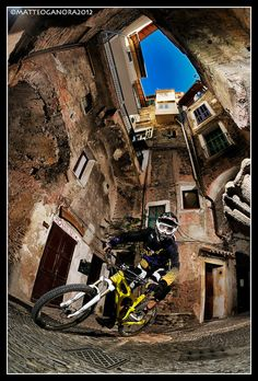 Riding in the streets of Dolceacqua
