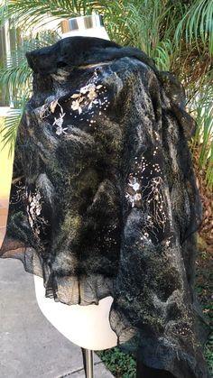 Women Felted Silk Scarf by GardenFeltbyMarina Wool Scarves for winter women fashion Felted Wrap Wearable Art Felt Artist Designed Lightweight Shawl Felted Wearable Art Nuno Felt Scarf, Wool Scarf, Felted Scarf, World Of Wearable Art, David Walker, Shibori, Felt Crafts Diy, Go For It, Felting Tutorials