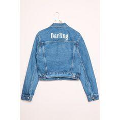Jackson Darling Denim Jacket ($45) ❤ liked on Polyvore featuring outerwear, jackets, blue jean jacket, blue jackets, embroidered denim jacket, blue denim jacket and denim jacket