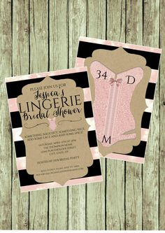 Bridal Shower Invite - Lingerie Party - DIY Printable File - Pink and Black by CreativeKittle on Etsy