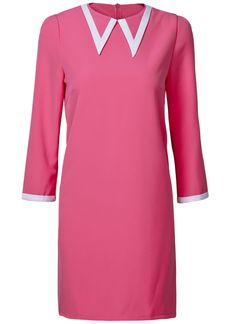Pink Dress with White Trim Collar.