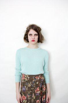 Vintage sweater / powder blue silk sweater / size S-M