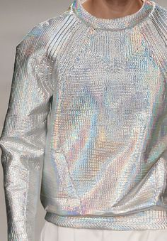THOUGHT - METALLIC threaded sweatshirt, in the same body we offer? wgsn: Iridescent silver sweatshirt at the Juun.J today