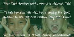 Heather Mills wins the first Doofl donation raffle! $1K to help homeless kids!  Awesome!