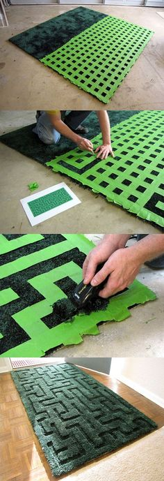 Maze carpet, MakeProjects on a DIY work, buy an ordinary carpet, designed maze, playing grid with tape cutting off the excess tape, in accordance with the drawings, and then shaved off the blank part of the carpet wool