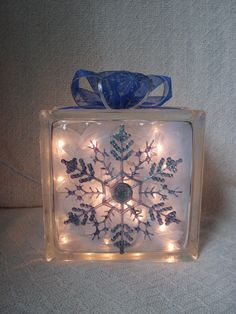 Snowflake Glass Block Home Decor by candylandgifts on Etsy, $28.00