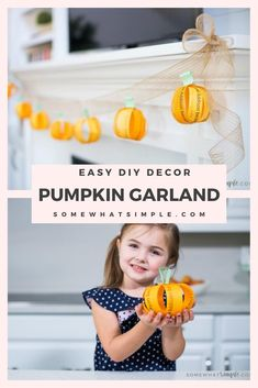 Not all Halloween and Fall decorations have to be scary! This fall garland is a cute decoration that the whole family can help create!Write down things you love about someone special and then hang the pumpkin garland where everyone can enjoy it. #FallDecorations #FallGarland #fallpumpkingarland #diyfalldecor #easyfalldecoridea via @somewhatsimple Easy Halloween Food, Diy Halloween Costumes, Halloween Pumpkins, Fall Halloween, Halloween Crafts, Holiday Crafts, Holiday Fun, Pumpkin Crafts, Diy Pumpkin