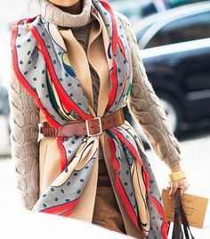 belted scarf street style