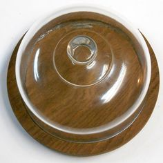 VINTAGE wood Cheese cutting board with Glass Covered lid tray snack bowl serving dish  Covered cheese #dish #etsy #cloche