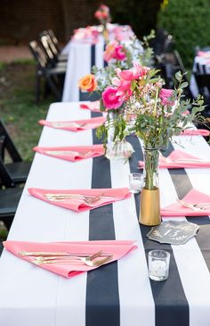 Whimsical Black & White Striped Wedding!