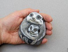 Cute Meerkat Baby and Meerkat Mother Painted Rock Art by artalika