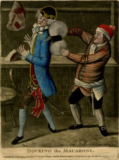© The Trustees of the British Museum  Docking the Macaroni.  Satire on fashion, with a butcher cutting off the back of a Macaroni's wig.  19 January 1773  Mezzotint with hand-colouring