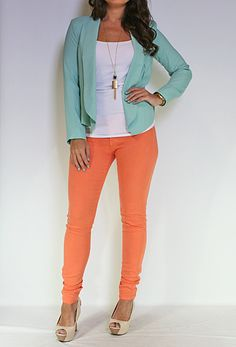 OOOH I have a mint blazer and coral pants. Outfits For Teens, New Outfits, Cool Outfits, Green Outfits, Spring Outfits, Coral Pants, Coral Dress, Teen Fashion, Fashion Beauty