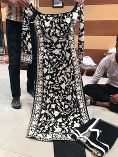 Designer salwar suits - Aishwairya Rai black and white heavy fancy thread embroidery net gown by www mongoosekart com Indian Attire, Indian Wear, Pakistani Outfits, Indian Outfits, Look Fashion, Indian Fashion, Net Gowns, Indian Designer Suits, Kurta Designs Women