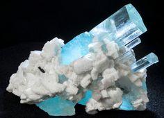 Large Aquamarine with Albite and Schorl Mineral Specimen - Iconic and unique!