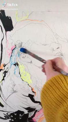 Cool Art Drawings, Art Drawings Sketches, Diy Canvas Art, Art Sketchbook, Portrait Art, Art Techniques, Art Tutorials, Painting & Drawing, Art Reference