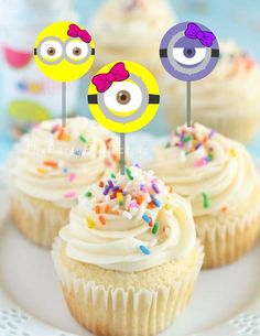 Party with Girl Minions and add these adorable Pink Minions cupcake toppers to you next Girl Despicable Me birthday party or baby shower!