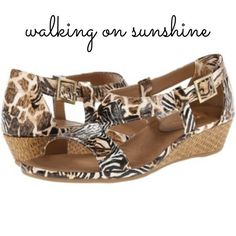 "Cute & Comfy Safari Animal Print Wedge Sandals These sweet safari sandals will become your new spring staple! Love the mixed prints: zebra & giraffe faux patent leather make the perfect match. Crafted with Aerosoles A2 comfort technology with sueded, cushion footbed, these open toe cuties are as comfy as they are stylish. The adjustable brass buckle & cork wedge dress up or down. ⭐️Retail: $75! ⭐️NWOB! UNWORN! ⭐️1 1/2"" Wedge ⭐️California Construction ⭐️Diamond Pattern Sole Disperse Weight…"