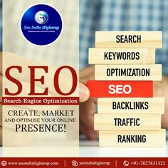 Create #market and optimise your #online #presence! For More Details Visit: - www.seoindiahigherup.com Seo Optimization, Search Engine Optimization, Google Penguin, Top Search Engines, Seo Keywords, Seo Services, Marketing, Create