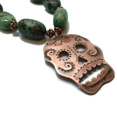 Copper Skull on Turquoise and Brown Glass Necklace by WinkArtisans, $80.00