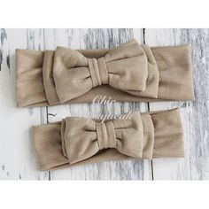 Avery Champagne Double Bow Baby Headband Headwraps