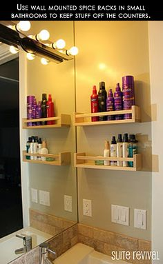 Using spice racks to hold toiletries - great way to get things off the counter.