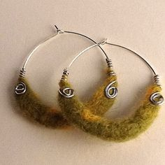 Lime and Lemony Ensemble Beaded Felt Hoops by TheMagicOfBeads, ¥1200