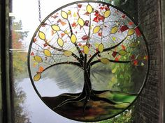 Autumn Stained Glass Tree of Life by RenaissanceGlass on Etsy, $475.00