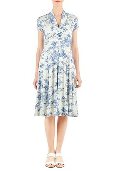 1940s inspired dress. Customize the sleeve for fall. eShakti Womens Landscape print pleated cotton knit dress $79.95 AT vintagedancer.com