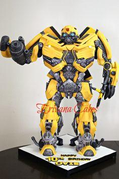 Gravity Defying Bumblebee Transformer Cake 2 1/2 ft tall!